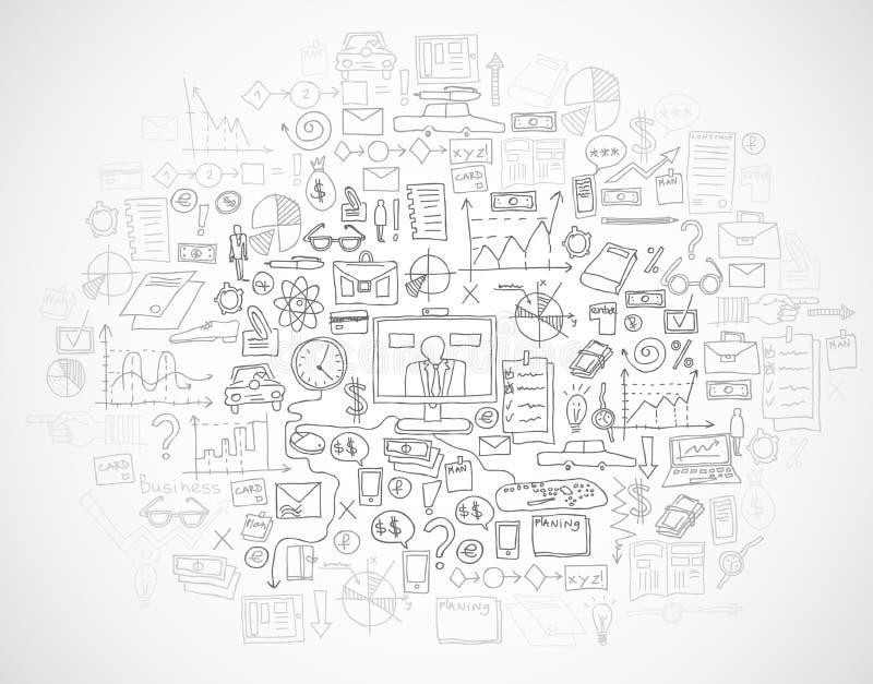 Το χέρι σύρει doodle τις αποδοχές analytics επιχειρησιακής χρηματοδότησης τραπεζών στοιχείων απεικόνιση αποθεμάτων