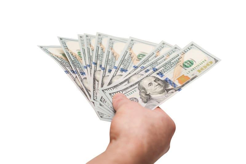 Το χέρι της εκμετάλλευσης ατόμων αέρισε τους fistful λογαριασμούς δολαρίων στοκ φωτογραφία με δικαίωμα ελεύθερης χρήσης