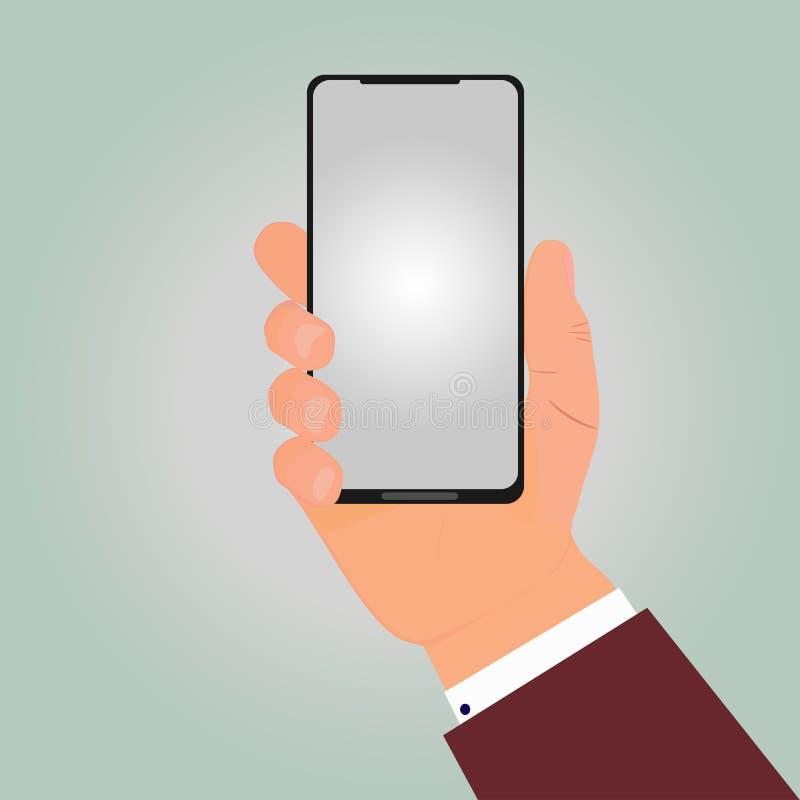 Το χέρι του επιχειρηματία κρατά το νέο smartphone ελεύθερη απεικόνιση δικαιώματος