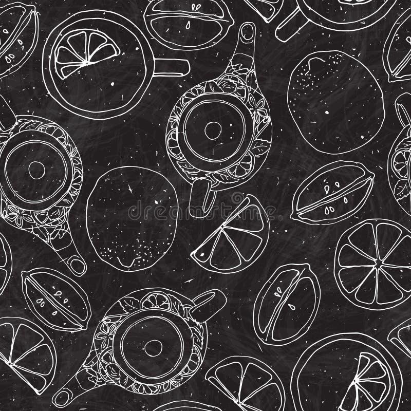 Το χέρι τσαγιού σύρει το άνευ ραφής σχέδιο με teapot, τα λεμόνια και το φλυτζάνι Σκιαγραφημένο κατασκευασμένο υπόβαθρο στο μαύρο  διανυσματική απεικόνιση