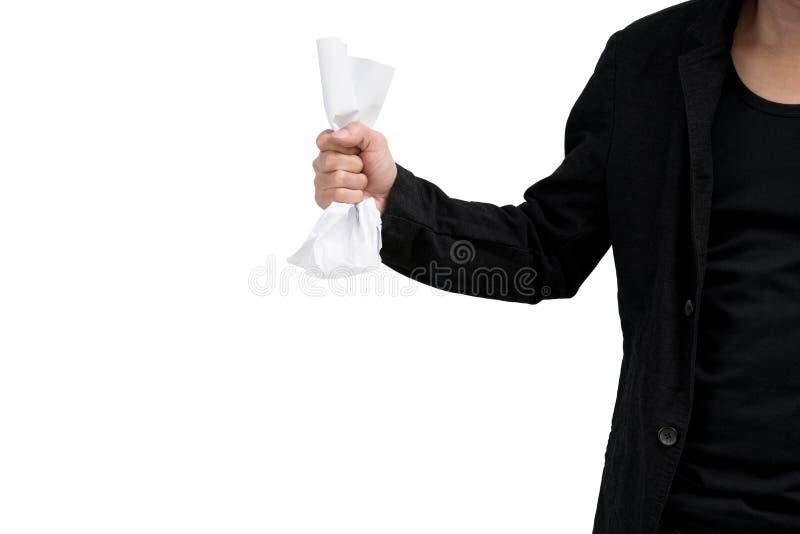 Το χέρι τσαλακώνει το έγγραφο στοκ εικόνες με δικαίωμα ελεύθερης χρήσης