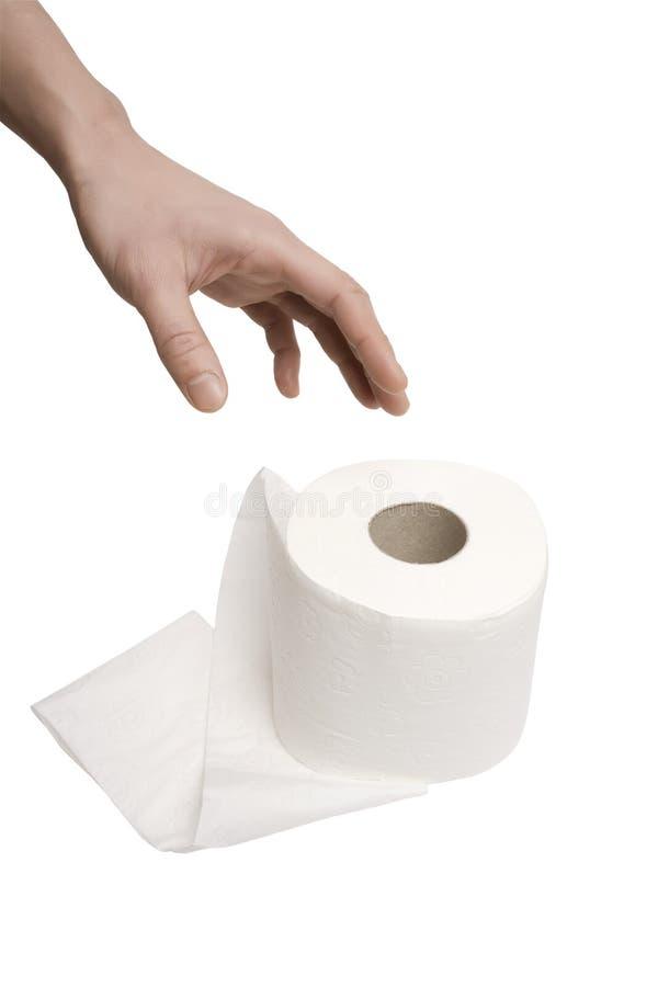 το χέρι φθάνει στην τουαλέ&ta στοκ εικόνες με δικαίωμα ελεύθερης χρήσης