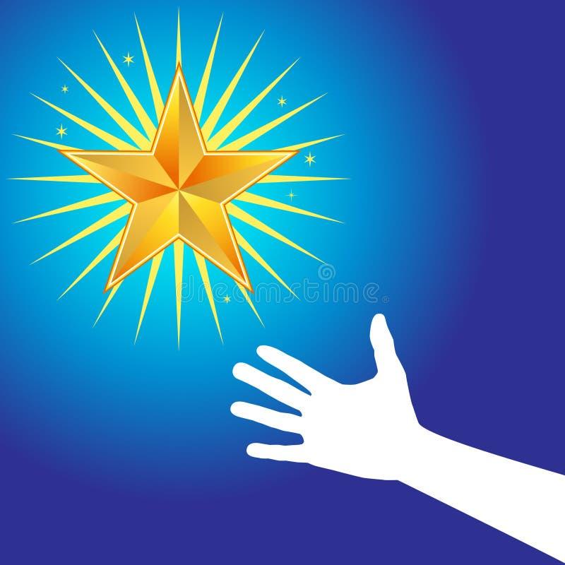 το χέρι φθάνει στο αστέρι διανυσματική απεικόνιση