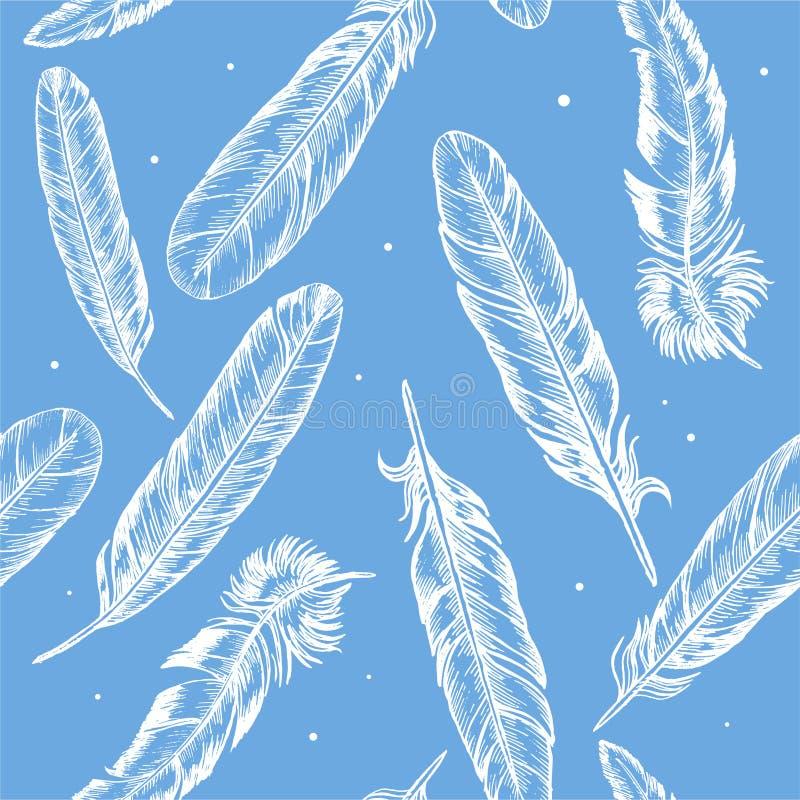 Το χέρι φτερών σύρει το σχέδιο υποβάθρου σκίτσων διάνυσμα διανυσματική απεικόνιση