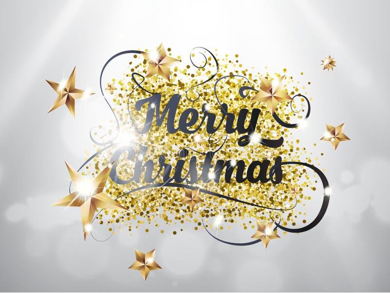 Το χέρι Χαρούμενα Χριστούγεννας σύρει το γράφοντας κείμενο με το χρυσό ANG αστεριών ακτινοβολεί συστάσεις στο ασημένιο υπόβαθρο μ ελεύθερη απεικόνιση δικαιώματος