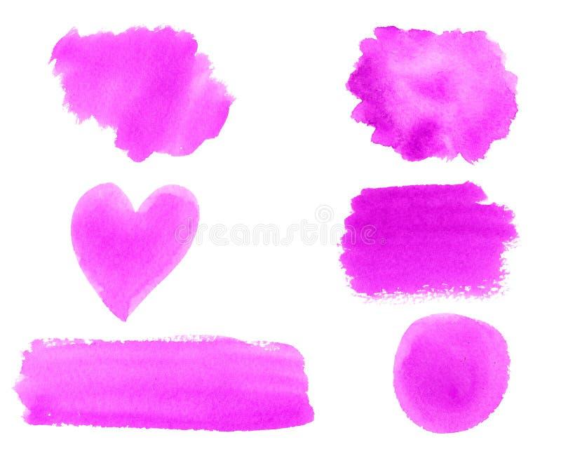 Το χέρι χρωμάτισε το αφηρημένο Watercolor υγρό σύνολο κτυπήματος βουρτσών νέου ρόδινο καθιερώνον τη μόδα που απομονώθηκε στο άσπρ απεικόνιση αποθεμάτων