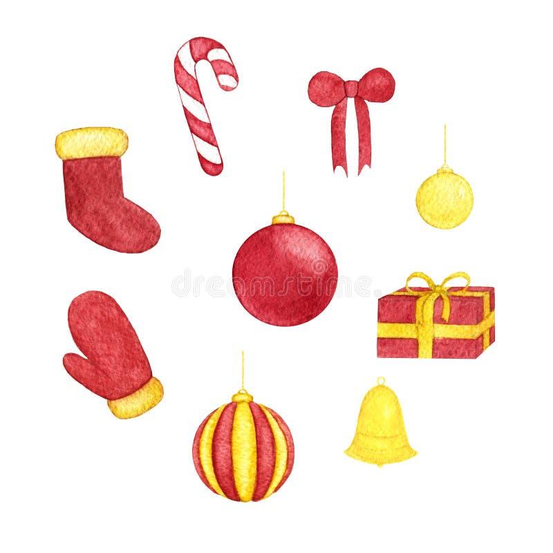 Το χέρι χρωμάτισε το σύνολο Χριστουγέννων σφαιρών watercolor των κόκκινων και κίτρινων χρωμάτων, του κουδουνιού, του τόξου, του κ απεικόνιση αποθεμάτων