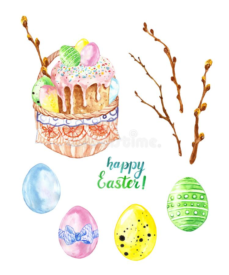Το χέρι χρωμάτισε τα στοιχεία Πάσχας με το κέικ Πάσχας στο καλάθι με τα χρωματισμένα αυγά νεοσσών, κλάδοι δέντρων ιτιών Σύμβολα Π διανυσματική απεικόνιση