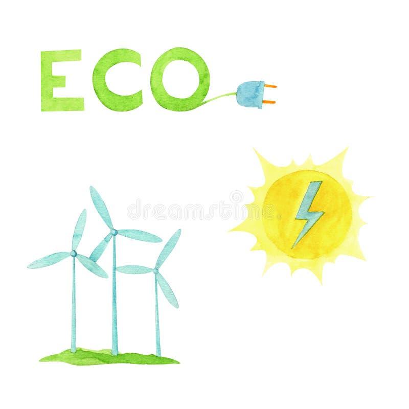 Το χέρι χρωμάτισε την έννοια οικολογίας απεικόνισης watercolor και τη reneweble ενέργεια που τέθηκαν με τη γεννήτρια αέρα στοκ εικόνες