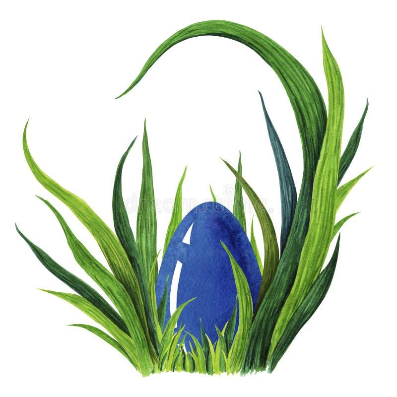 Το χέρι χρωμάτισε την απεικόνιση watercolor του ζωηρόχρωμου μπλε αυγού Πάσχας βάζοντας στη φρέσκια πράσινη χλόη tuffet closeup ελεύθερη απεικόνιση δικαιώματος