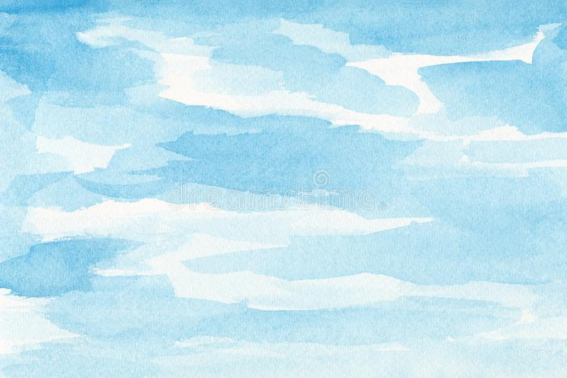 Το χέρι χρωμάτισε τον ουρανό watercolor και τα σύννεφα, αφηρημένο υπόβαθρο watercolor, ανίχνευσαν την απεικόνιση απεικόνιση αποθεμάτων