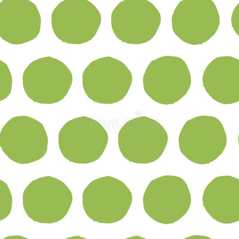 Το χέρι χρωμάτισε το άνευ ραφής σχέδιο σημείων Πόλκα Αφηρημένο πράσινο φρέσκο οργανικό υπόβαθρο απεικόνιση αποθεμάτων