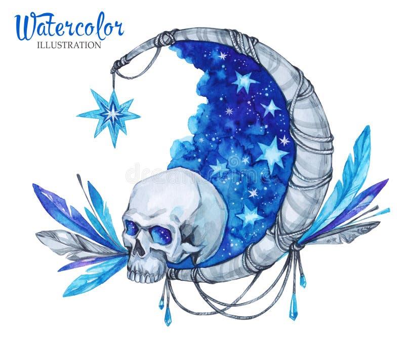 Το χέρι χρωμάτισε το απόκρυφο έμβλημα με το κρανίο, το φεγγάρι, τα αστέρια και τα φτερά Νύχτα αποκριών ` s διανυσματική απεικόνιση