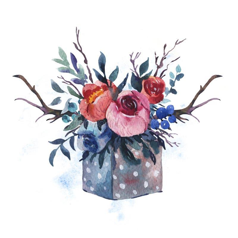 Το χέρι Watercolor χρωμάτισε το ξύλινο κιβώτιο με τα λουλούδια, κόκκινα τριαντάφυλλα, απεικόνιση αποθεμάτων