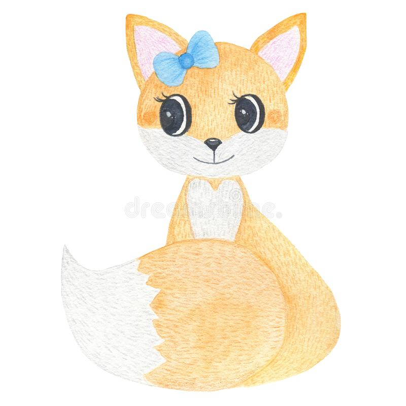 Το χέρι Watercolor χρωμάτισε τη χαριτωμένη δασική αλεπού που απομονώθηκε στο άσπρο υπόβαθρο απεικόνιση αποθεμάτων