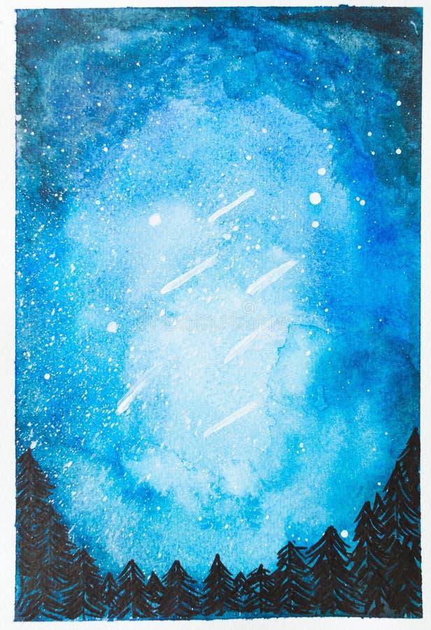 Το χέρι Watercolor χρωμάτισε τον μπλε νυχτερινό ουρανό με τα μειωμένα αστέρια και το TR στοκ εικόνες