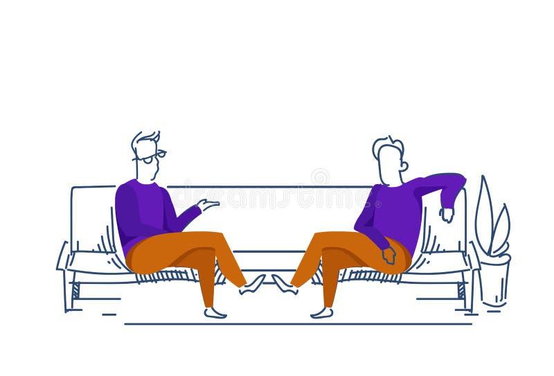 Το χαλαρώνοντας αρσενικό έννοιας επιχειρησιακής διαπραγμάτευσης καναπέδων επικοινωνίας δύο επιχειρηματιών χρωμάτισε το σκίτσο σκι διανυσματική απεικόνιση