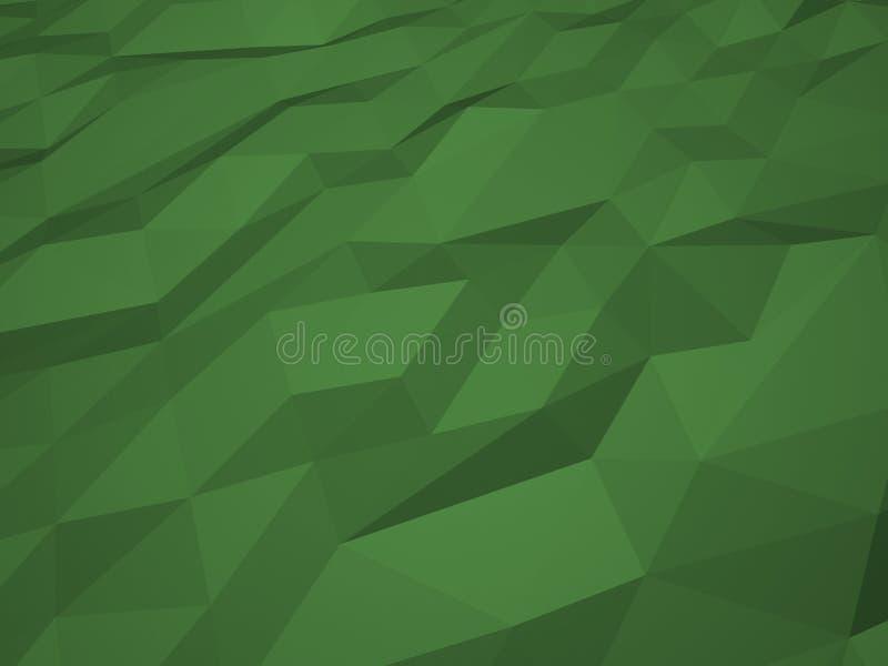 Το χαμηλό πολυ πράσινο υπόβαθρο τρισδιάστατο δίνει στοκ εικόνα