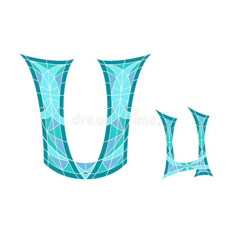 Το χαμηλό πολυ U επιστολών στο μπλε πολύγωνο μωσαϊκών ελεύθερη απεικόνιση δικαιώματος
