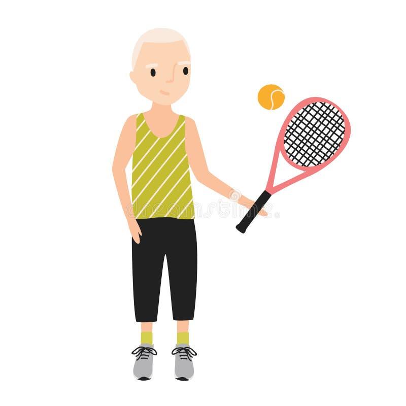 Το χαμογελώντας αγόρι έντυσε sportswear στη ρακέτα αντισφαίρισης εκμετάλλευσης Παιδί που φορά το αθλητικά πουκάμισο και παιχνίδι  απεικόνιση αποθεμάτων