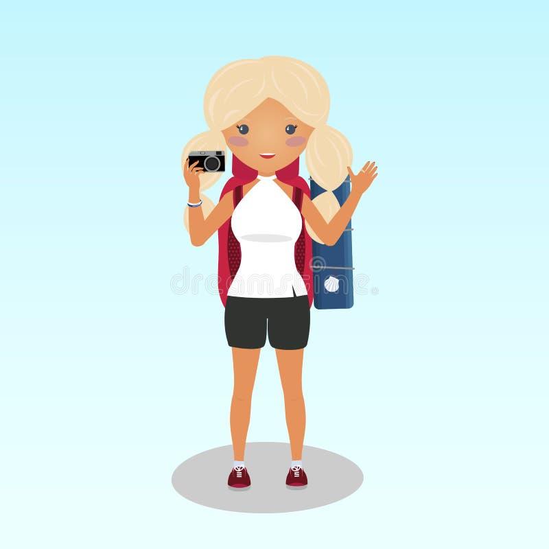 Το χαμογελώντας ξανθό κορίτσι παίρνει μια φωτογραφία Νέος ταξιδιώτης ελεύθερη απεικόνιση δικαιώματος