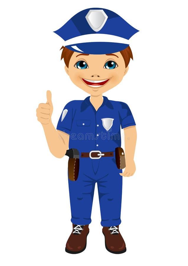 Το χαμογελώντας μικρό παιδί που φορά το ομοιόμορφο δόσιμο αστυνομίας φυλλομετρεί επάνω διανυσματική απεικόνιση