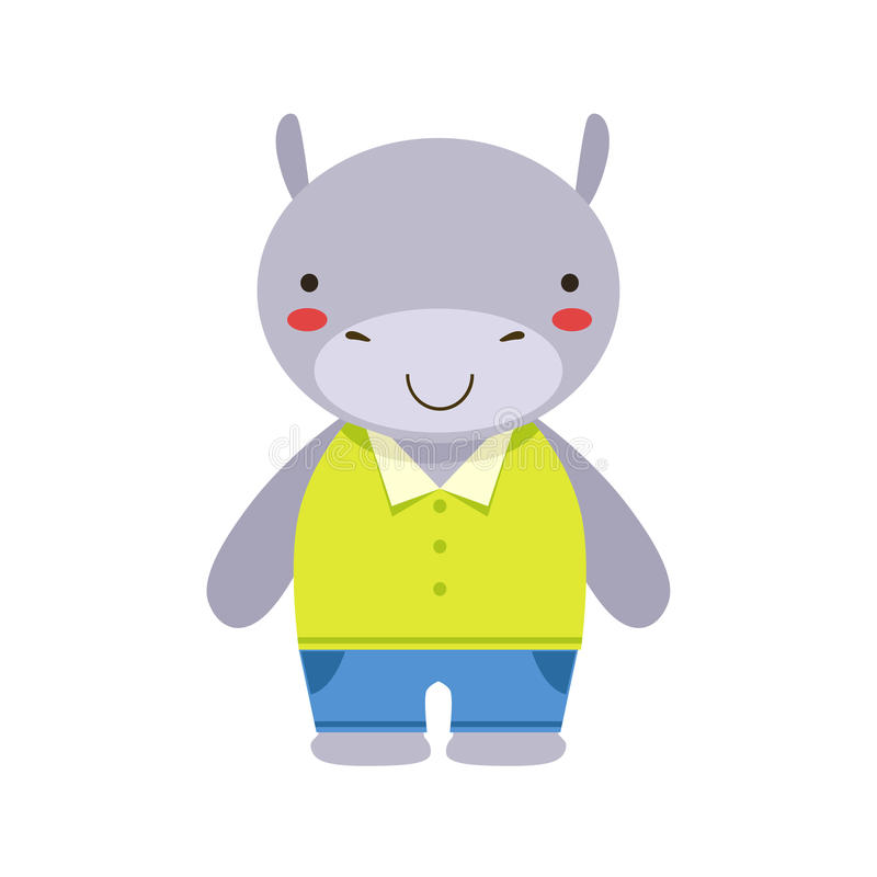 Το χαμόγελο Hippo στο κίτρινο τοπ και μπλε ζώο μωρών παιχνιδιών εσωρούχων χαριτωμένο έντυσε ως μικρό παιδί απεικόνιση αποθεμάτων