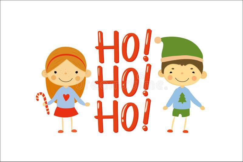 Το χαριτωμένα μικρό κορίτσι και το αγόρι έντυσαν στα πουλόβερ διακοπών christmas happy merry new year Χαρακτήρες παιδιών κινούμεν απεικόνιση αποθεμάτων
