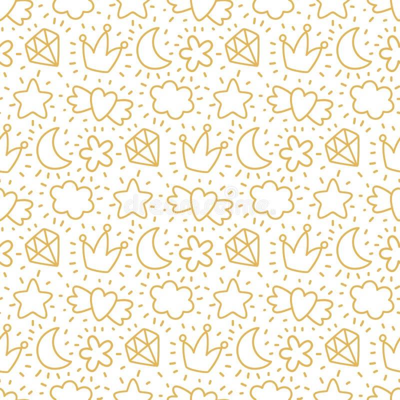 Το χαριτωμένο άνευ ραφής σχέδιο με τα χρυσά στοιχεία καλύπτει, φεγγάρι, κορώνα, διαμάντι, καρδιά, αστέρι σε ένα άσπρο υπόβαθρο ελεύθερη απεικόνιση δικαιώματος