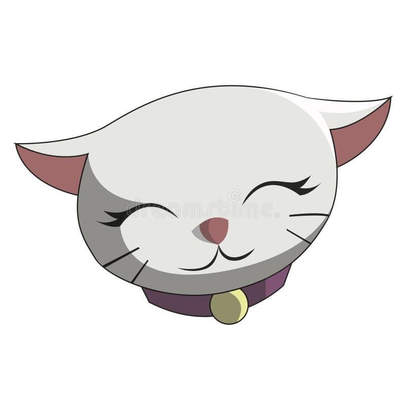 Το χαριτωμένο άσπρο χαμόγελο γατών ελεύθερη απεικόνιση δικαιώματος