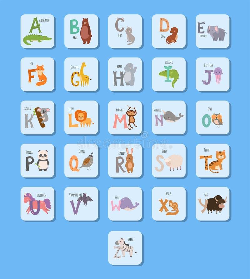 Το χαριτωμένο αλφάβητο ζωολογικών κήπων με την αστεία άγρια φύση επιστολών ζώων κινούμενων σχεδίων μαθαίνει τη γλωσσική διανυσματ διανυσματική απεικόνιση