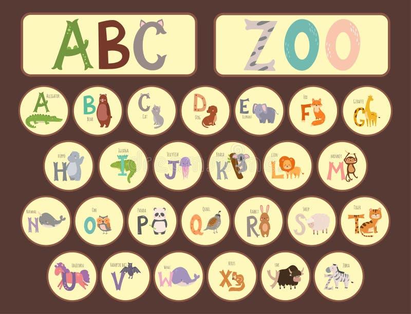 Το χαριτωμένο αλφάβητο ζωολογικών κήπων με την αστεία άγρια φύση επιστολών ζώων κινούμενων σχεδίων μαθαίνει τη γλωσσική διανυσματ απεικόνιση αποθεμάτων