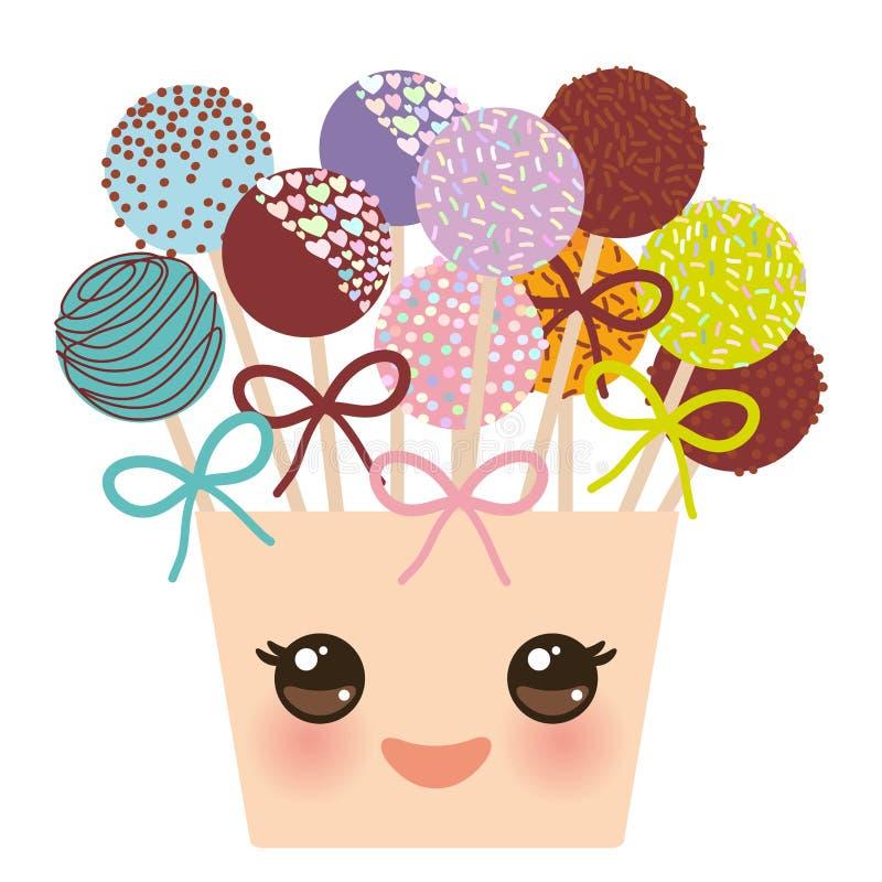 Το χαριτωμένο αστείο ζωηρόχρωμο γλυκό κέικ kawaii σκάει το σύνολο με το τόξο σε έναν ρόδινο κάδο που απομονώνεται στο άσπρο υπόβα διανυσματική απεικόνιση