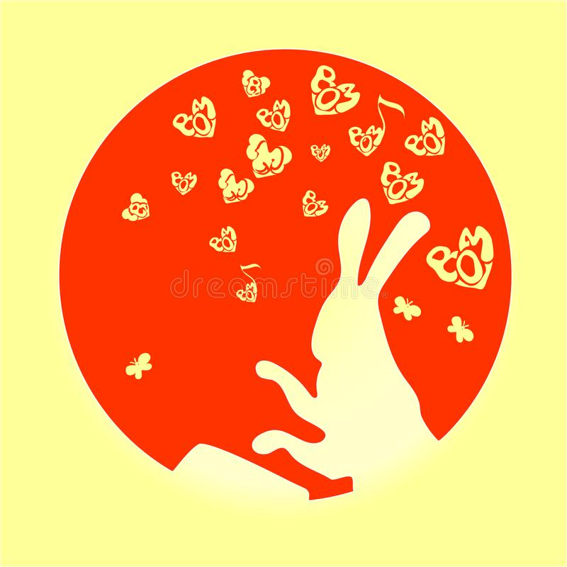 Το χαριτωμένο, αστείο ζώο, κουνέλι είναι ένας λαγός που σφυροκοπά το διάνυσμα τυμπάνων των κινούμενων σχεδίων Μικρή κόκκινη καρδι απεικόνιση αποθεμάτων