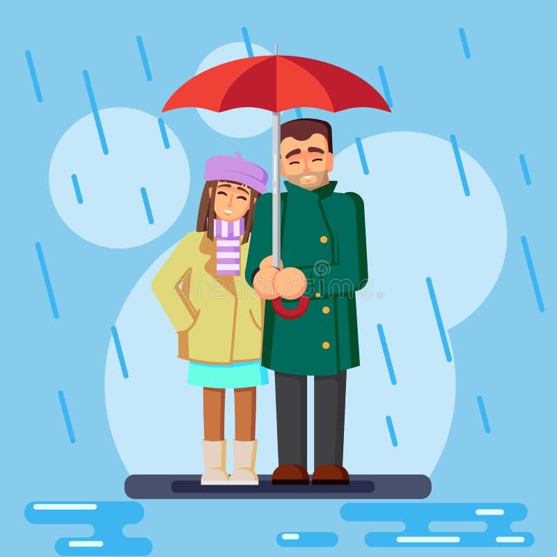 Το χαριτωμένο επίπεδο αγαπώντας ζεύγος στη διανυσματική απεικόνιση βροχής διανυσματική απεικόνιση