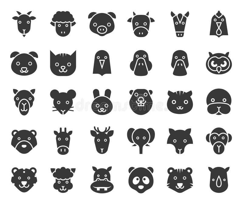 Το χαριτωμένο ζωικό πρόσωπο περιέλαβε τα δασικών και αφρικανικών ζώα αγροκτημάτων, glyph σχέδιο ελεύθερη απεικόνιση δικαιώματος