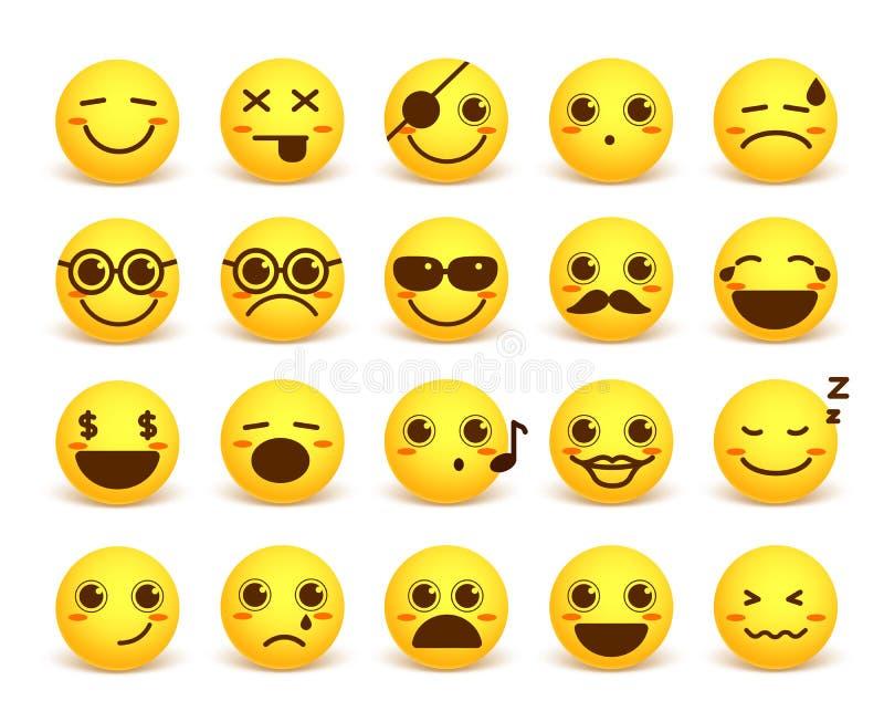 Το χαριτωμένο διάνυσμα προσώπου Smiley emoticon έθεσε με τις ευτυχείς εκφράσεις του προσώπου διανυσματική απεικόνιση