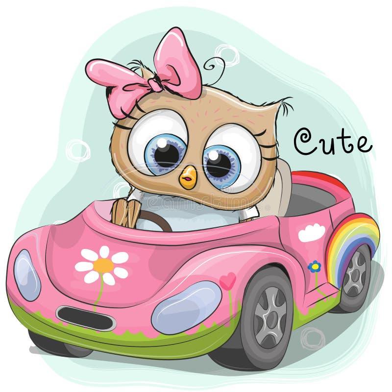 Το χαριτωμένο κορίτσι κουκουβαγιών πηγαίνει στο αυτοκίνητο