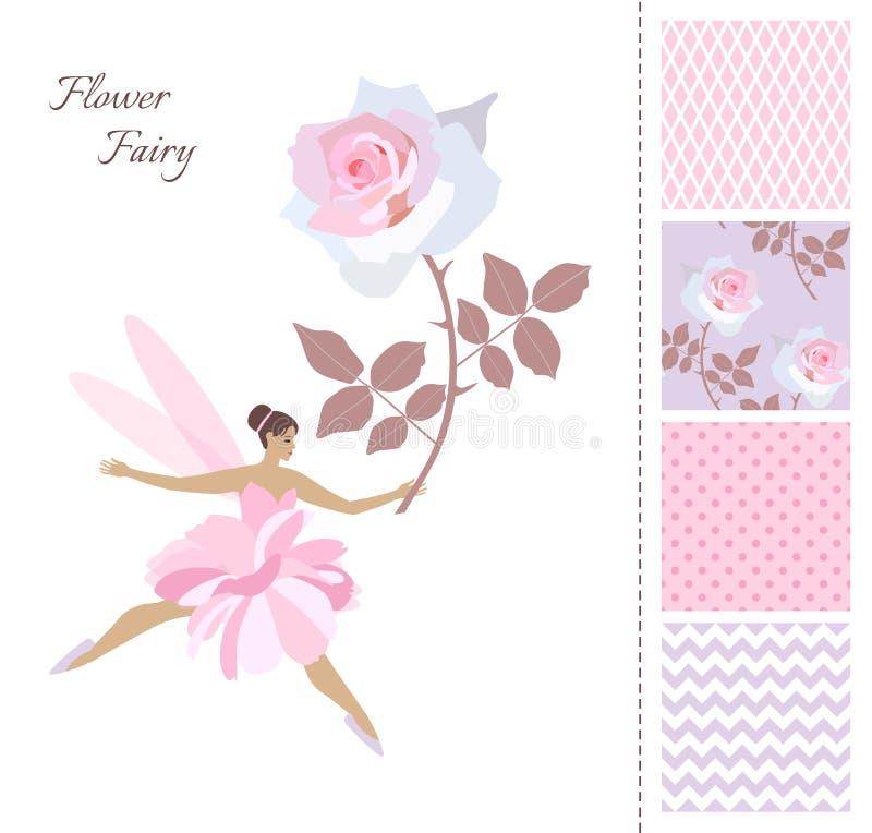 Το χαριτωμένο κορίτσι νεράιδων με μεγάλο ρόδινο αυξήθηκε Κάρτα και σύνολο άνευ ραφής σχεδίων στα ρομαντικά χρώματα με τα λουλούδι ελεύθερη απεικόνιση δικαιώματος