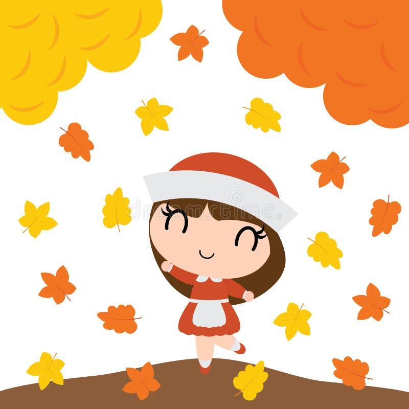 Το χαριτωμένο κορίτσι προσκυνητών είναι ευτυχές πίσω από τη διανυσματική απεικόνιση κινούμενων σχεδίων δέντρων σφενδάμνου για το  ελεύθερη απεικόνιση δικαιώματος