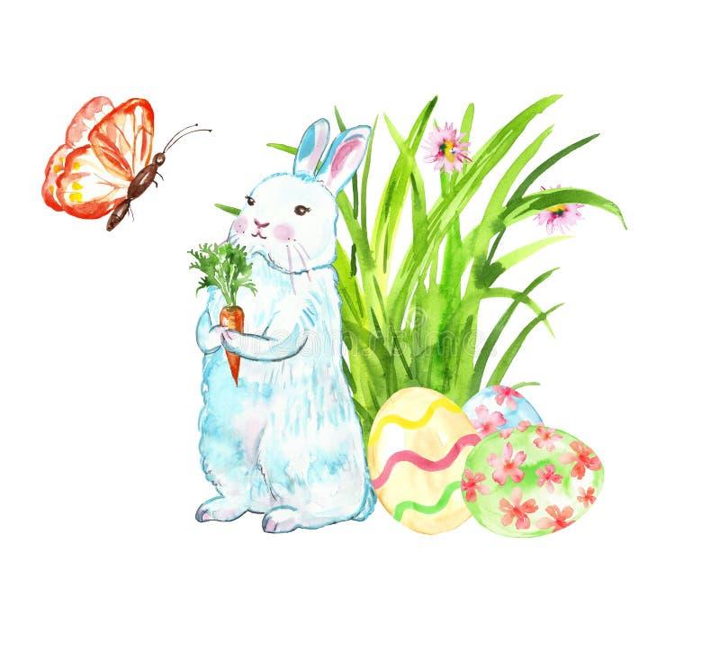 Το χαριτωμένο κουνέλι Πάσχας Watercolor με το καρότο που στέκεται κοντά στα χρωματισμένα αυγά τελειώνει την πράσινη χλόη χρωματισ απεικόνιση αποθεμάτων
