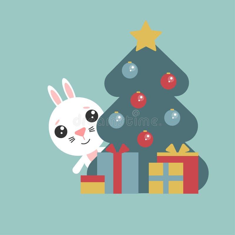 Το χαριτωμένο λαγουδάκι κοιτάζει έξω από πίσω από ένα δέντρο με τις σφαίρες Ο αστείος χαρακτήρας με παρουσιάζει r Σύμβολο του έτο ελεύθερη απεικόνιση δικαιώματος
