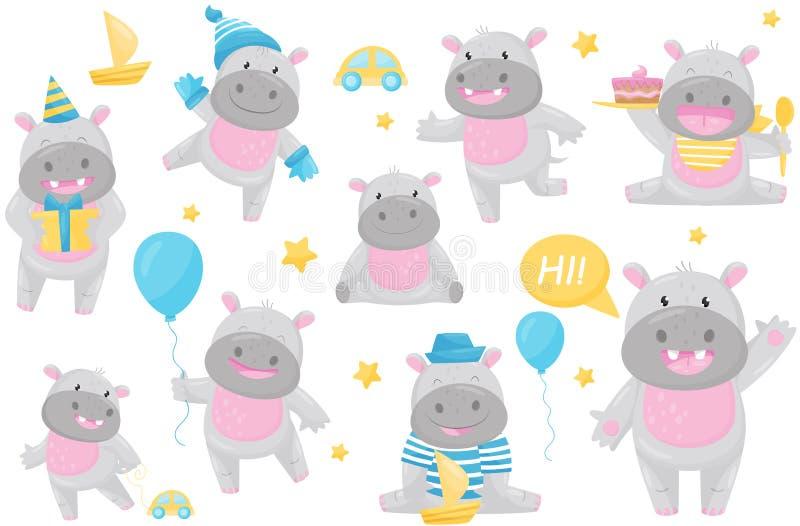 Το χαριτωμένο λατρευτό hippo στις διαφορετικές καταστάσεις έθεσε, καλό ευτυχές διάνυσμα χαρακτήρα κινουμένων σχεδίων χαμόγελου be ελεύθερη απεικόνιση δικαιώματος