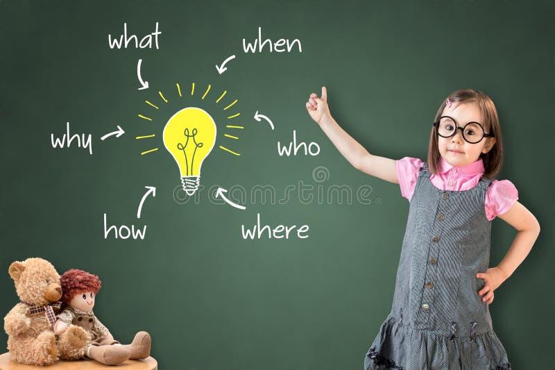 Το χαριτωμένο μικρό κορίτσι που φορά το επιχειρησιακό φόρεμα και που αναλύει το πρόβλημα και βρίσκει τη λύση, στον πράσινο πίνακα στοκ εικόνες