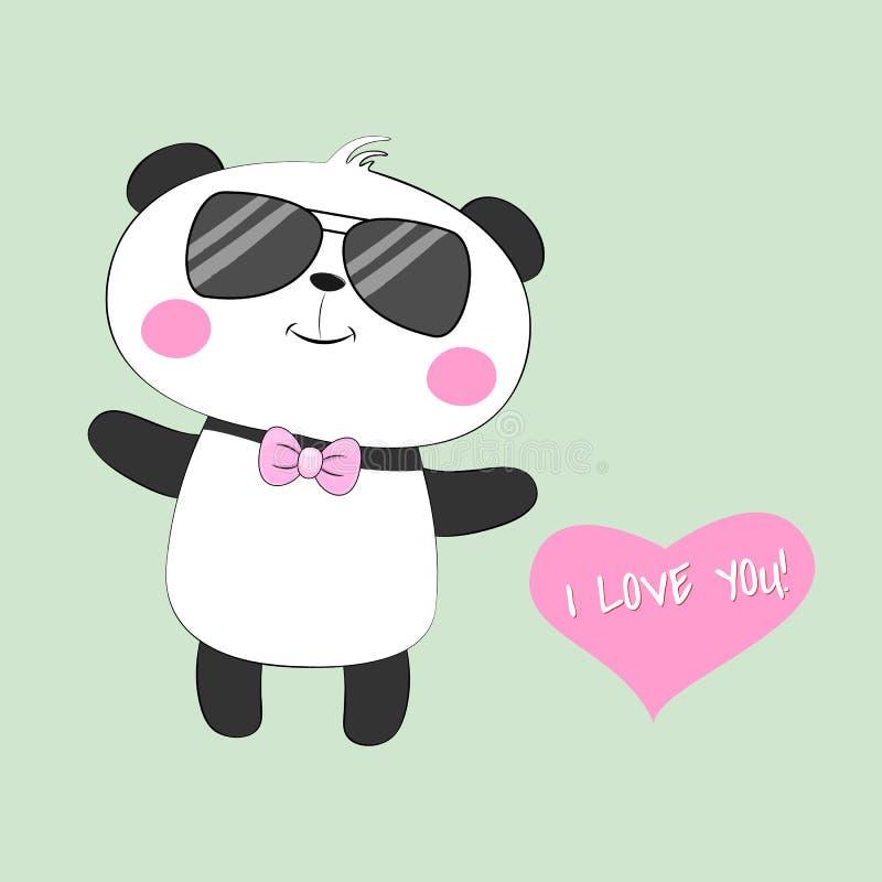 Το χαριτωμένο μωρό ευχετήριων καρτών αντέχει το panda με τα γυαλιά και μια επιγραφή σ' αγαπώ ελεύθερη απεικόνιση δικαιώματος