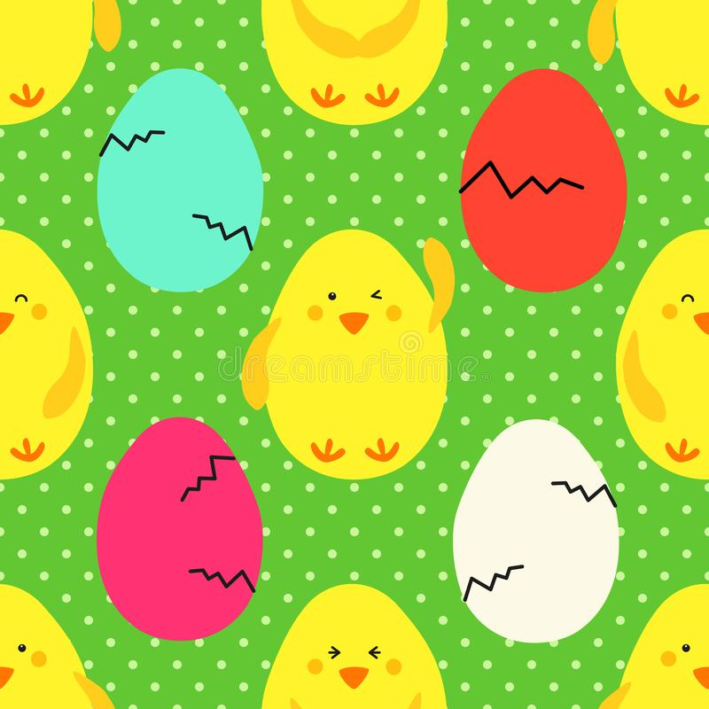 Το χαριτωμένο παιδαριώδες συρμένο χέρι άνευ ραφής σχέδιο Πάσχας με το κίτρινα μικρά emoji και τα αυγά κοτόπουλων στην Πόλκα διαστ διανυσματική απεικόνιση