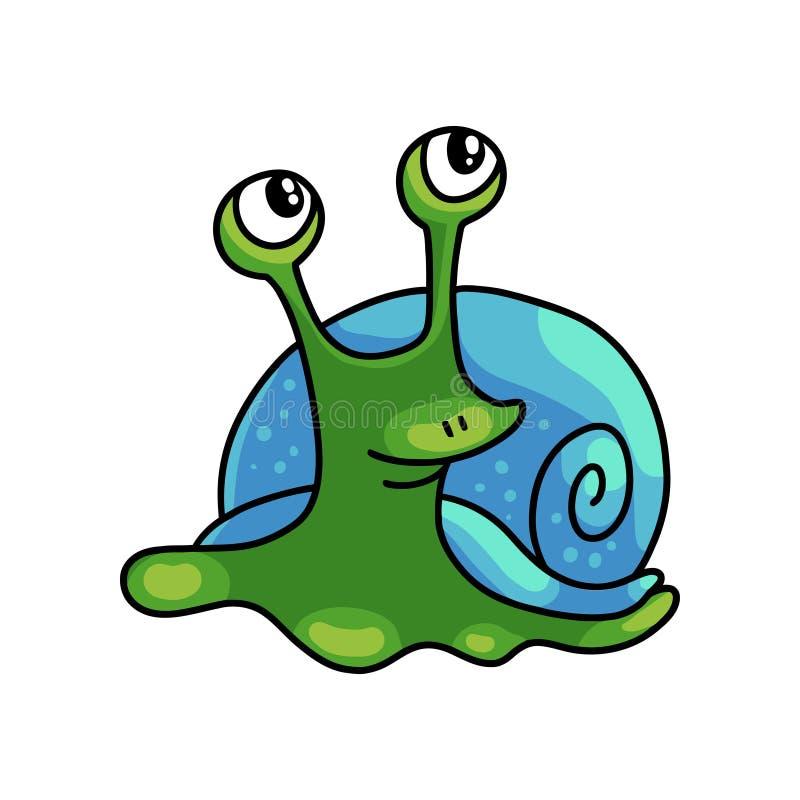 Το χαριτωμένο πράσινο σαλιγκάρι με το μπλε κοχύλι κοιτάζει στον αέρα διανυσματική απεικόνιση