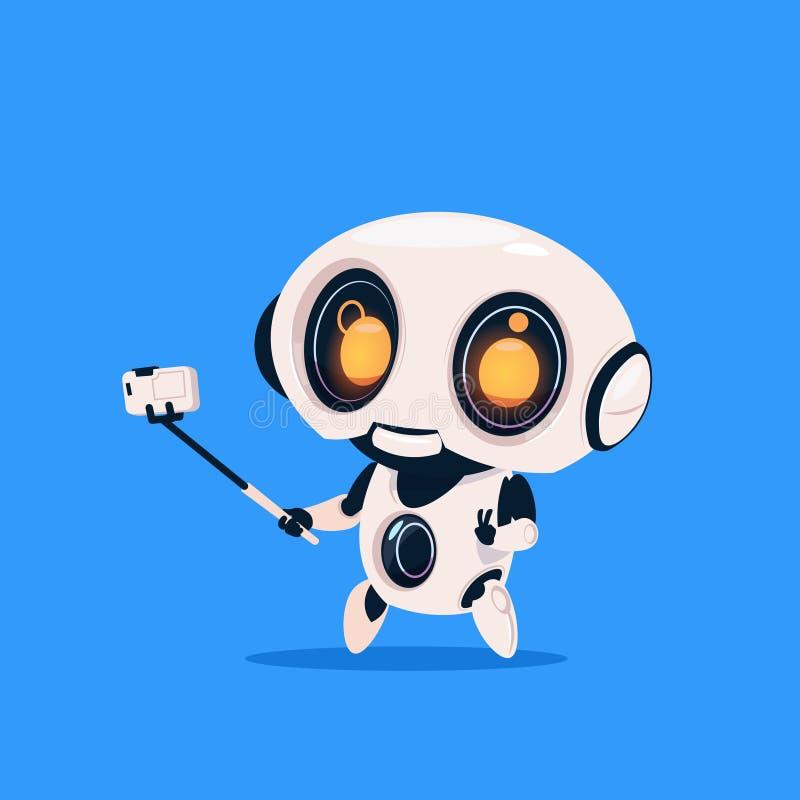 Το χαριτωμένο ρομπότ παίρνει το απομονωμένο φωτογραφία εικονίδιο Selfie έννοια στην μπλε υποβάθρου σύγχρονη τεχνολογίας τεχνητής  διανυσματική απεικόνιση