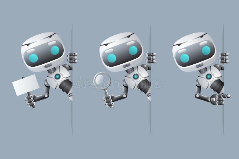 Το χαριτωμένο ρομπότ φαίνεται έξω διαθέσιμη υπόδειξη αφισών γωνιών στην ενίσχυση λαβής εμβλημάτων - μέλλον επιστημονικής φαντασία απεικόνιση αποθεμάτων