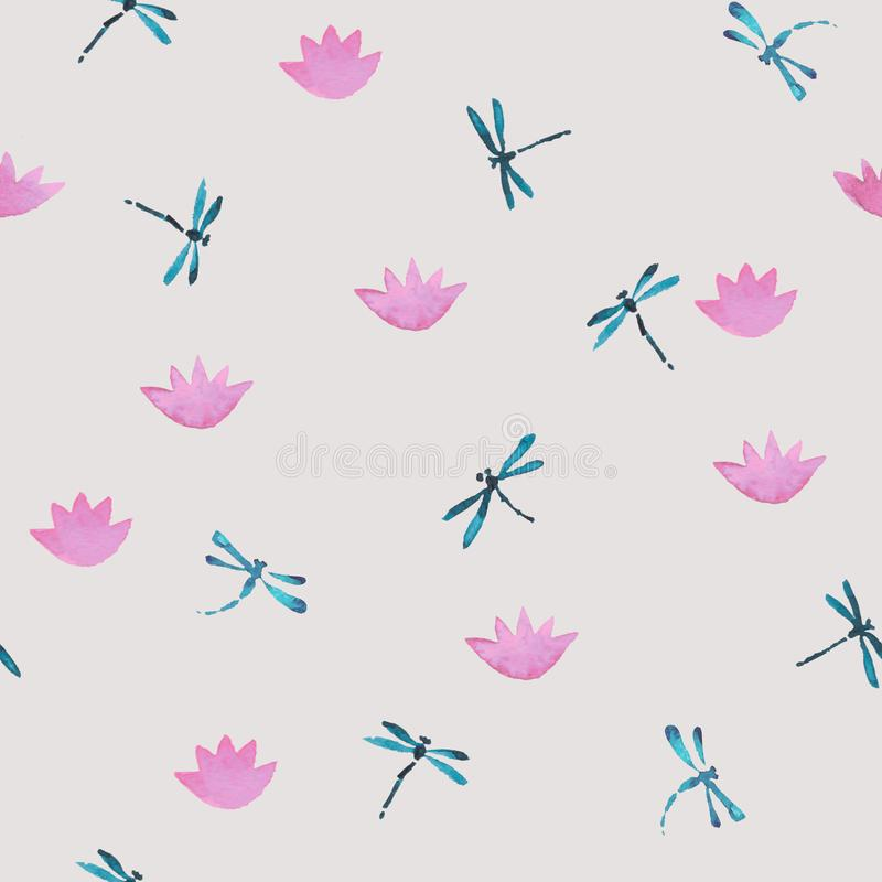 Το χαριτωμένο ρόδινο και μπλε άνευ ραφής σχέδιο watercolor με τις λιβελλούλες και ο λωτός ποτίζουν τα λουλούδια διανυσματική απεικόνιση